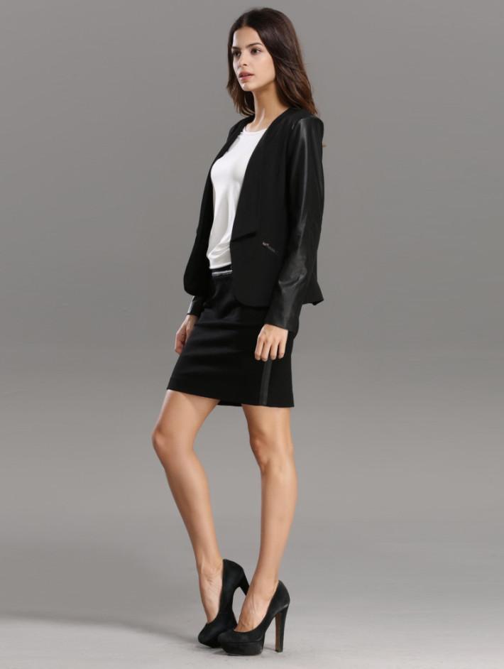 karabearni2015秋冬装个性黑色插袖外套